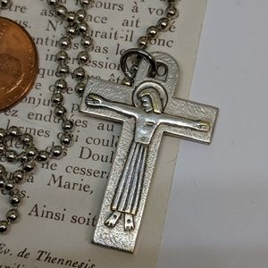 Jewelry - Vintage Silver Cross Pendant Necklace Long Chain